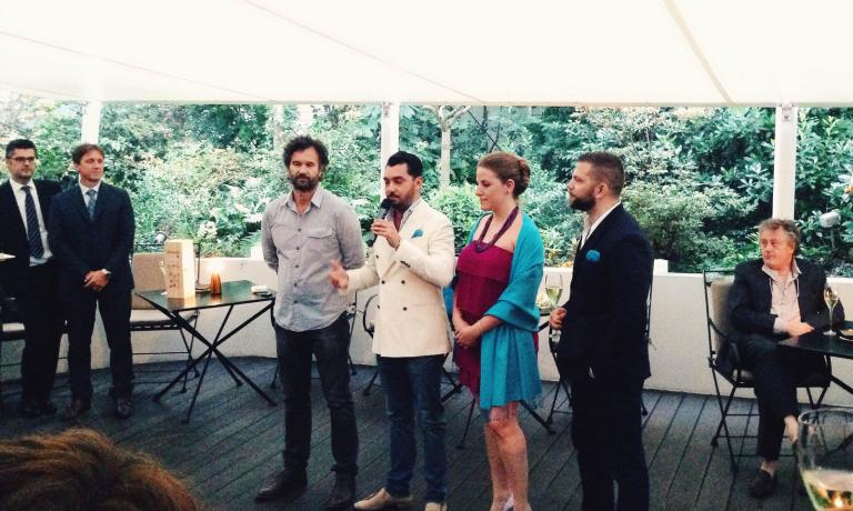 A photo taken during the presentation of Cracco by Four, at Milan's Magna Pars Suites, left to right: Carlo Cracco, publisher Antioco Piras, the Italian edition's editor in chief Manuela Xillovich, the other publisher Jakob Siegeris
