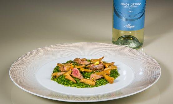 Il risone e la gallina, burro amaro e rigaglie. In abbinamento Pinot Grigio delle Venezie DOC 2017 Corte Giara