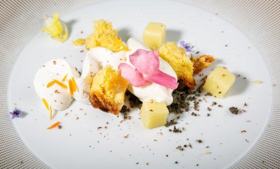 Macchia mediterranea, olio extravergine d'oliva, mandorla, il dessert firmato daTiziano Mita, pasticcere cegliese deI Due Camini