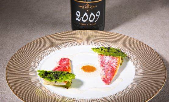 Un piatto di Ciccio Sultano a Identità Golose Milano, abbinato con uno champagneMoët & Chandon