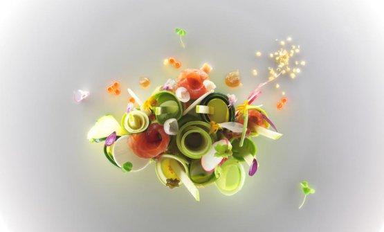 Trota, foie gras, avocado e mela verde (foto Massimo Loda)