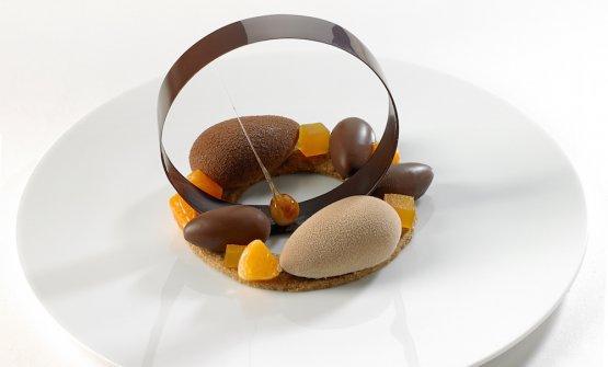 Le 5 preparazioni diMarcella Moutte, Miglior pasticcera under 30. Dessert al piatto: Gianduia e mandarini