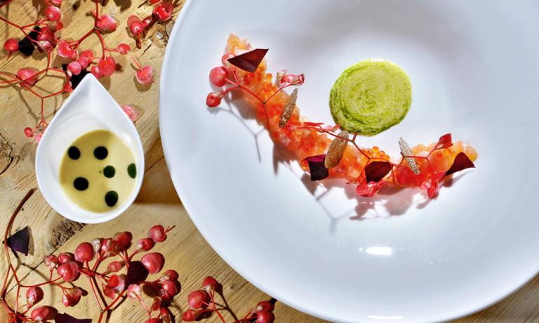 Once upon a time there was a river trout: tartare, caviar, crispy skin