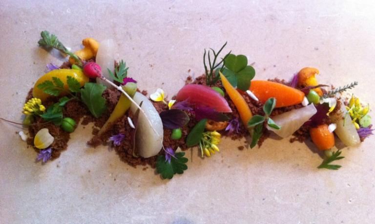 La collezione di ortaggi nell'Ortam, piatto vegano
