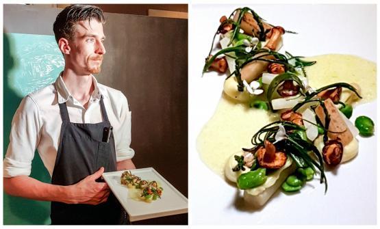 Gijs Kemmeren con l'altro piatto, dedicato agli asparagi