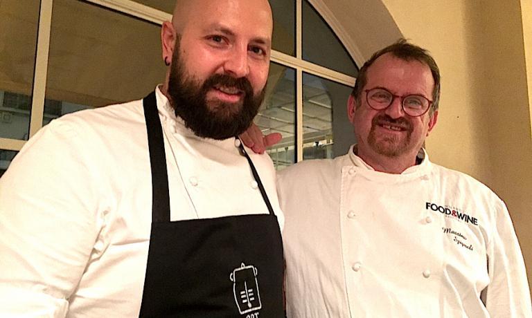 Marco Pirotta e Massimo Spigaroli al termine della cena a 4 mani assieme il 12 dicembre a Milano nel ristorante del primo, Al Fresco al 50 di via Savona