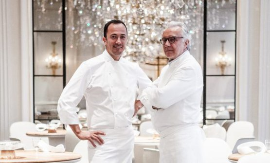 Ducasse with Romain Meder, head chef at Plaza Athénée