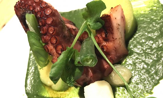 Polp Fiction, another dish by Viviana Varese: roasted octopus with French beans, taccole, potatoes, trombetta courgettes, compote of citron and light pesto