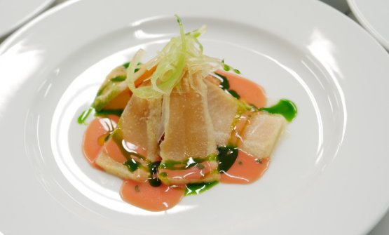The dishes in the menu: Amberjack, panzanella, oil aromatised with basil and crispy celery, by Moreno Cedroni