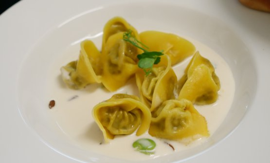 Tortelli filled with stewed rabbit, coconut and broad beans, by Cristina Bowerman