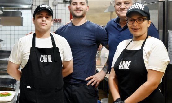 Rafaèl Lima, president at CARNE, with some of the staff. In the middle, Ezequiel Viqueira, ex Four Seasons, dining room director in Calle Defensa, in the centre of Buenos Aires