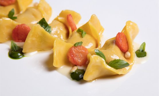 Ravioli di pappa al pomodoro, basilico e salsa al parmigiano reggiano bio 36 mesi