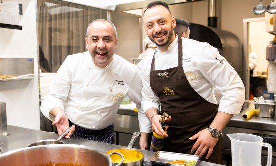 Guarino con il resident chef di Identità Golose Milano, Alessandro Rinaldi