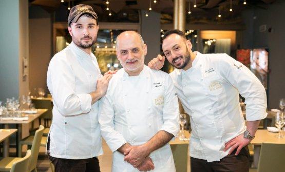 Assenza con Gabriele Tangari eAlessandro Rinaldi, rispettivamente pastry chef e chef di Identità Golose Milano