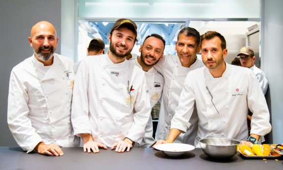 Andrea Ribaldone, il pastrychef Gabriele Tangari, Alessandro Rinaldi, Paco Roncero, Javier Alonso