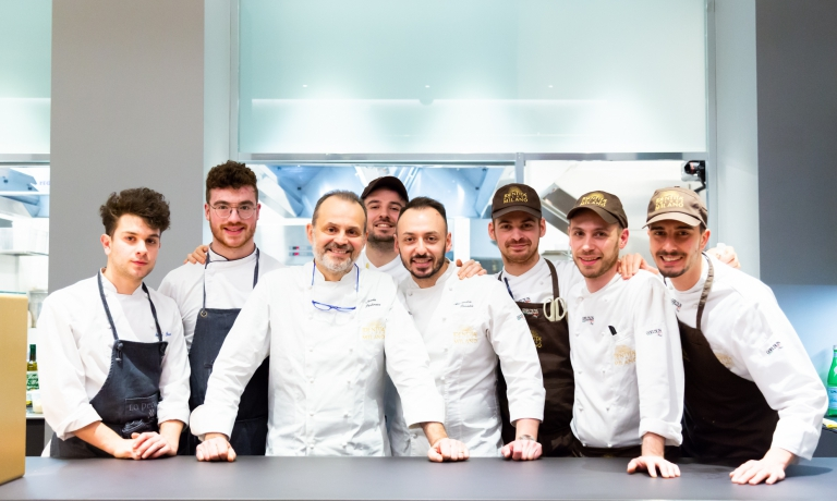 Nicola Portinari with the brigade at Identità Golose Milano