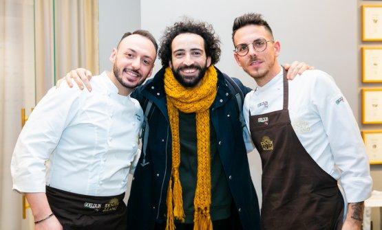Franco Alibertiwith chefs and sous chef atIdentità Golose Milano,Alessandro RinaldiandAlessio Sebastiani