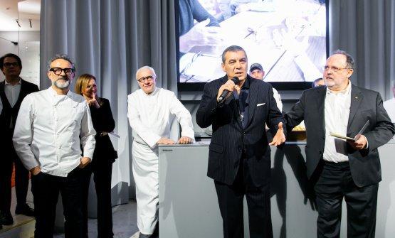 La presentazione della serata conMassimo Bottura, Alain Ducasse, Claudio Ceroni, Paolo Marchi
