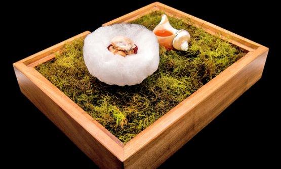Uovo con schiuma vichyssoise e briciole di pane all'aglio, forse il piatto più famoso di Barroso
