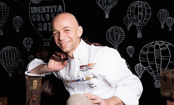 Riccardo Camanini in un ritratto di Brambilla-Serrani a Identità Golose 2017