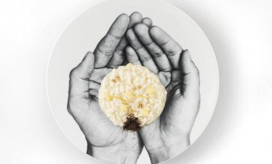La rinascita: risotto cacio e sette pepi con limone d'Amalfi fermentato