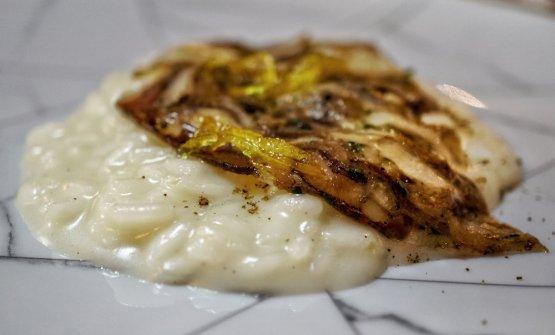 Risotto Carnaroli, pecorino di fossa, spezie del Panpepato, soprassat e limone candito