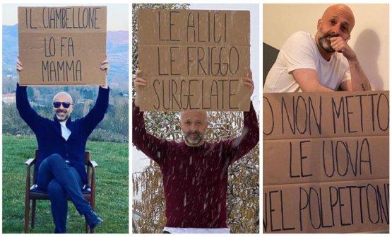 Niko Romito con alcuni dei cartelli che hanno cara