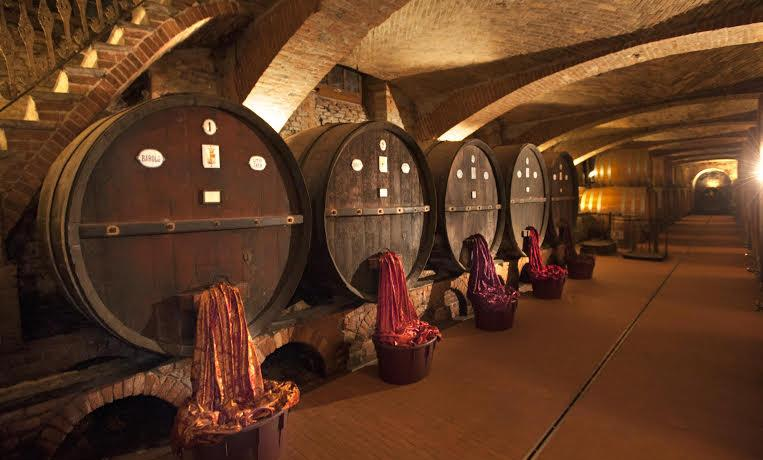 The barrels in the winery founded by Emanuele Albe