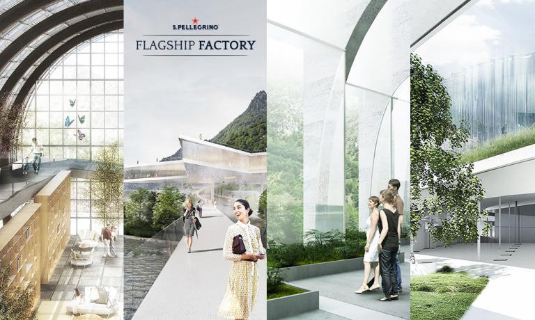 Un composit coi quattro progetti, presentati da altrettanti grandi studi di architettura internazionali per il nuovo stabilimentodi S.Pellegrino, nell'omonimo Comune della Val Brembana. Solo uno di essi diventerà la casa dell'acqua più famosa del mondo