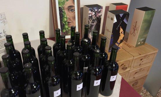 I sei campioni in degustazione e, sullo sfondo, il quadro di Maurizio Trentin che diventerà l'etichetta del nuovo Santalucia 2017