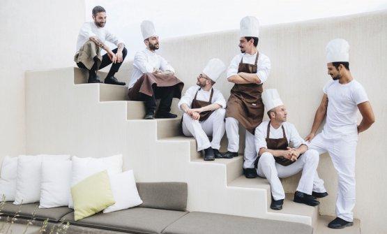 Il giovane chefDiego Battaglia, in alto a sinist