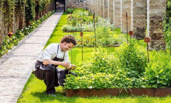 Lo chef Stefano Baiocco nell'orto del ristorante