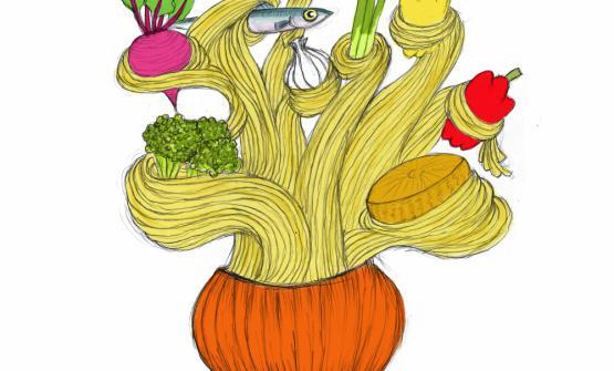 Gianluca Biscalchin illustra il Cipollone al forno con spaghettoni e salsa di acciuga, piatto presentato da Davide Scabin sul palco di Identità di Pasta 2012