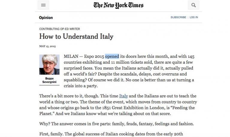 L'editoriale di Beppe Severgnini sulla versione online del New York Times
