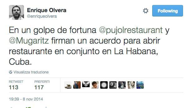 Il tweet premonitore di Enrique Olvera, novembre scorso