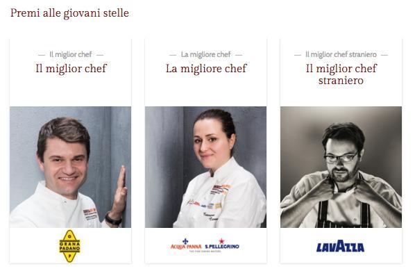 TRIS D'ASSI. Enrico Bartolini (chef diDevero a Cavenago, Milano), Caterina Ceraudo (chef diDattilo, Strongoli, Crotone) eIsaac McHale (chef di Clove Club a Londra), 3 delle 13 giovani stelle premiate quest'anno