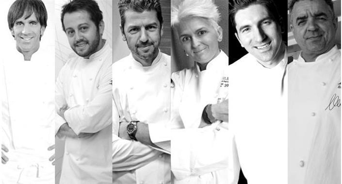 Da sinistra, gli chef Davide Oldani, Alessandro Negrini, Andrea Berton, Cristina Bowerman, Fabio Pisani, Mauro Uliassi. Foto Finedininglovers