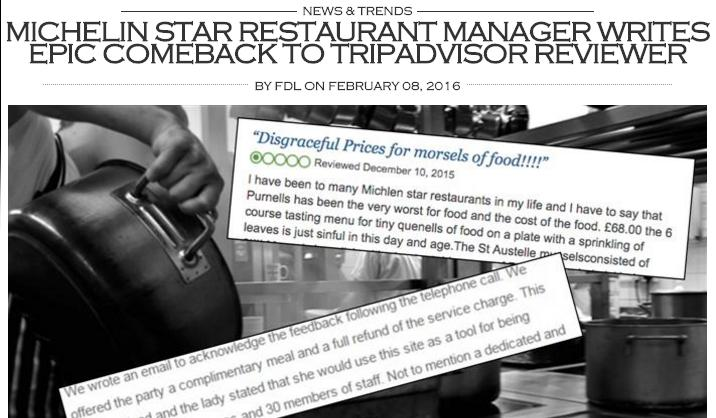 Cosìil sito finedininglovers.com ha rappresentato il botta e risposta tra lo chef del Purnell's di Birmingham e un utente anonimo, che aveva criticato il ristorante su Tripadvisor