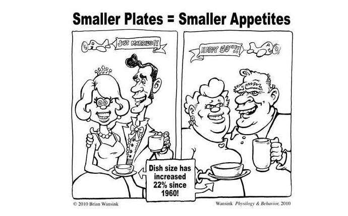 Una vignetta tratta da smallplatemovement.org, movimento americano che suggerisce di contrastare l'obesità attraverso la riduzione del diametro dei piatti: riducendoloda 30 a 25 centimetri, sostengono, il numero di calorie ingerite si abbassa in media del 22%
