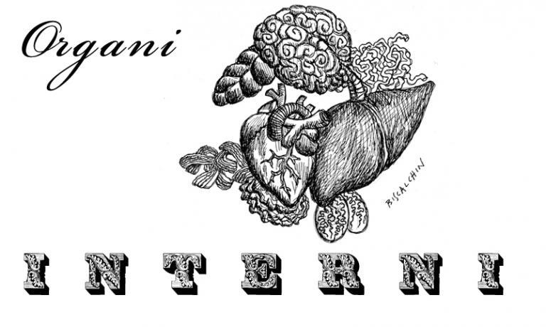 L'immagine simbolo di Interni, il nuovo Collettivo del Quinto Quarto formato da cinque ristoratori milanesi:Taglio,Erba Brusca, Pasta Madre, Ratanà e Trippa. Cuochi e amici che vogliono diffondere la cultura dellefrattaglie con una serie di iniziative congiunte (illustrazione di Gianluca Biscalchin)