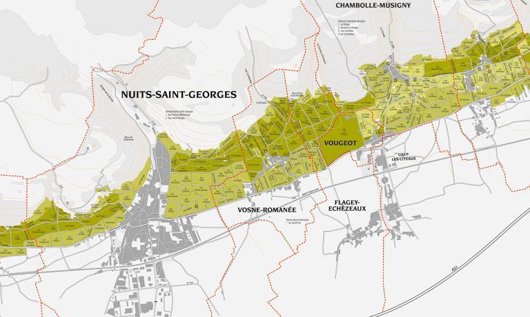 Una cartina deiClimats du vignoble de Bourgogne.Al centro, l'area diRomanée-Conti