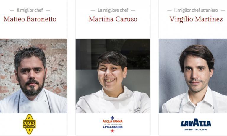 Tre delle Giovani stelle premiate nell'edizione 2017: il piemontese Matteo Baronetto, la siciliana Martina Caruso e il peruviano Virgilio Martinez