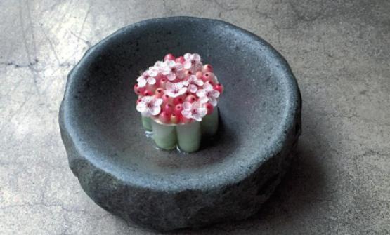 La torta ghiacco pre-primaverile di Boragò: parassiti di Quisco, fori di prugna, estratto di fiori di mandorla, miso di fiori di prugna e gelato di alghe (instagram)
