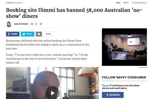 Libro nero per combattere ilno show. Il sito di prenotazioni australiano Dimmi ha già messo al bando 38mila utenti, annuncia The Sydney Morning Herald