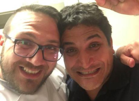 Agostino Iacobucci, regista dell'evento, con Mauro Colagreco del Mirazur di Mentone (Francia)