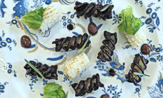 Le Eliche alle olive Celline, mustardela, calamaro