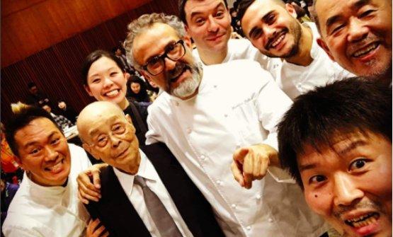Zaiyu Hasegawa, chef at Jimbocho Den in Tokyo (bottom right) posted this photo on Instagram. Left to right, Takahiko Kondo, Jiro Ono, Emi Hasegawa, Massimo Bottura, Luca Fantin, Riccardo Forapani and Matsuhiro Yamamoto