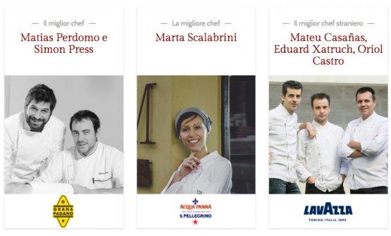 Sono 45 gli Chef 20 anni di quest'edizione e192 gli Chef 30anni. In foto, tre dei 13 premi alle Giovani Stelle:Matias Perdomo e Simon Press (i migliori chef), Marta Scalabrini (la migliore chef), Mateu Casañas, Eduard Xatruch, Oriol Castro (miglior chef stranieri)