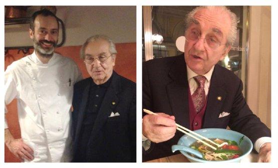Marchesi con Gianni Traversone della Trattoria del Nuovo Macello e, a destra, mentre cena da Zazà Ramen