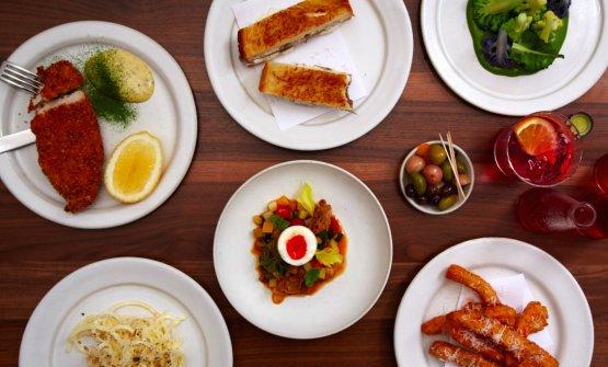 Un'infilata di piatti del ristorante londinese Luca dello scozzeseIsaac McHale a Londra. Specialità, cucina britalian (fotoluca.restaurant)